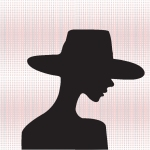 Fashion model silhouette dons a hat