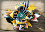 Green and Yellow Greenbay Hairbow