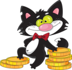 Image of a Cat Standing On Pile of Coins