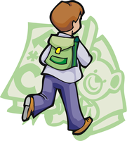 Back to School Shopping - Image of Boy Running with Book Bag