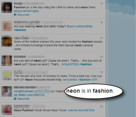 Neon Fashion Mentions on Twitter