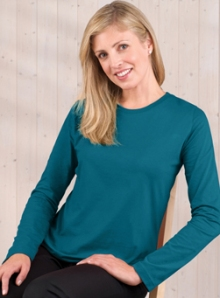 Womens Teal Long Sleeve T-Shirt
